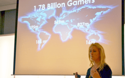 Jane McGonigal bij slotevent Growing Games